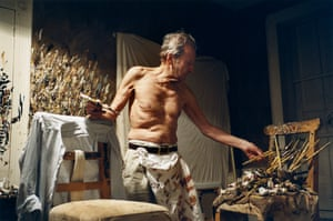 Lucian Freud, who died aged 88, working in his Holland Park studio in 2005. David Dawson, Freud's long-time assistant, artist and photographer, took the picture.