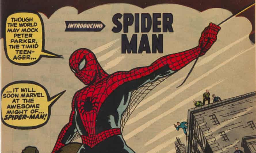 Spider-Man swings into action on the cover of Amazing Fantasy #15.