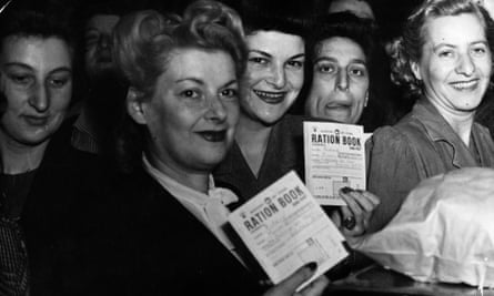 Ration books on display in June 1946.