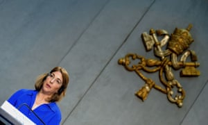 The Canadian activist Naomi Klein speaking at the Vatican at a conference on the climate change encyclical by Pope Francis.