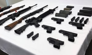 An array of surrendered guns on display in Canberra collected during the first national amnesty since 1996.