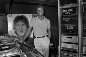 Larry Levan photographed in the DJ booth at Paradise Garage in 1978.