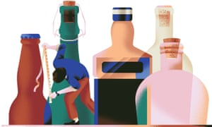 Illustration of man  measuring  tops of bottles