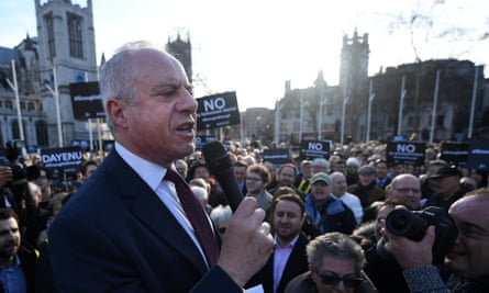Jonathan Arkush, the president of the Board of Deputies, delivers a speech during a protest outside parliament