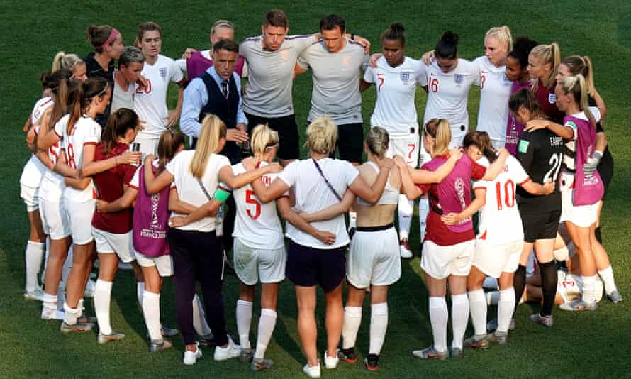 Phil Neville assembled his England squad after the third-place play-off for one of his traditional post-match huddles.