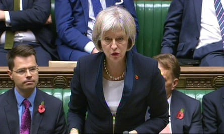 Home secretary, Theresa May, unveils the draft Investigatory powers bill in the House of Commons on 4 November.