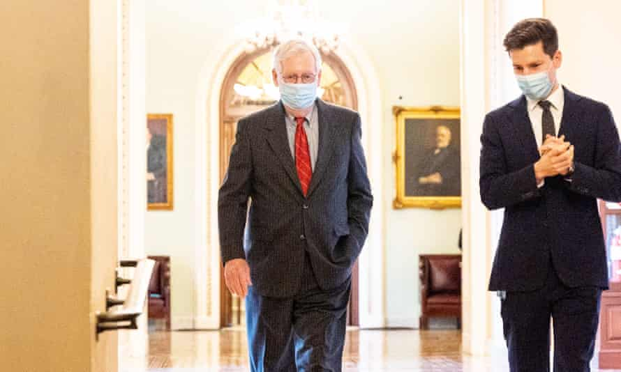 Mitch McConnell Near the Senate Chamber in Washington, US - 28 Jan 2021<br>Mandatory Credit: Photo by Michael Brochstein/SOPA Images/REX/Shutterstock (11734301c) Senate Minority Leader Mitch McConnell (R-KY) wearing a face mask walks from the Senate Chamber to his office. Mitch McConnell Near the Senate Chamber in Washington, US - 28 Jan 2021