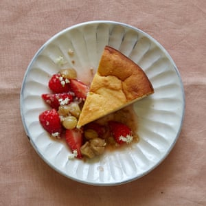 Jane Baxter's ricotta limoncello cake with gooseberry compote.