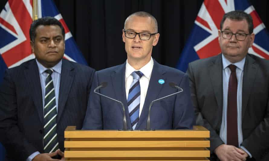 New Zealand health minister David Clark announces his resignation in Wellington on Thursday.