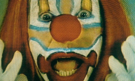 Video footage of a clown's face from Nauman's video installation, Clown Torture