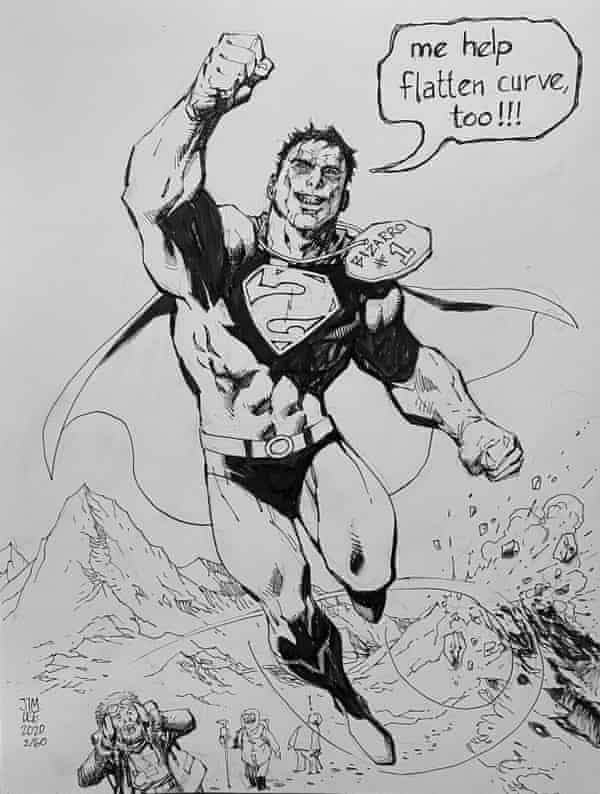 Jim Lee's original pen and ink illustration of Bizarro Superman, one of 60 artworks he is auctioning off to help comic book shops stay in business during the Covid-19 outbreak. This illustration sold for $4,769 US (£3.837)