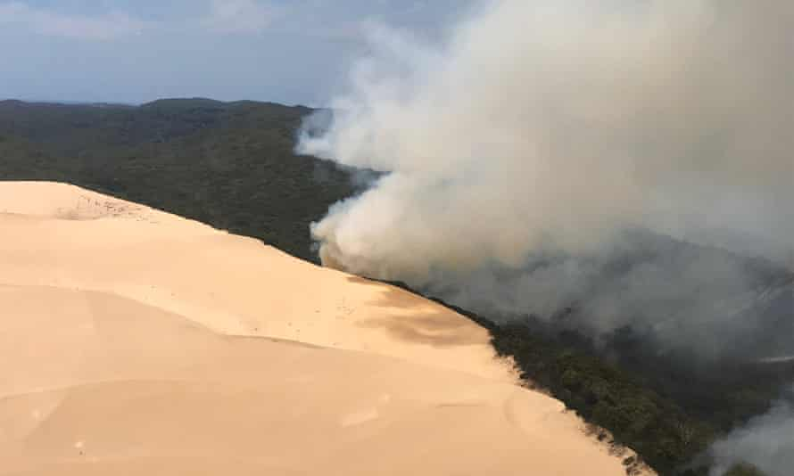 Large fire burning bushland on Fraser Island