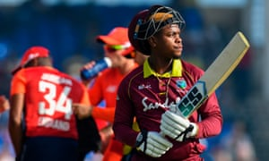 Shimron Hetmyer of West Indies walks off the field dismissed by David Willey