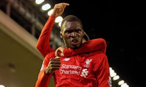 Christian Benteke, pictured celebrating his goal against Southampton last weekend, could also miss Liverpool's game at Chelsea on Saturday.