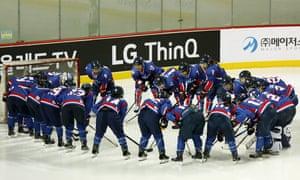 Team Korea huddle before the Women's Ice Hockey friendly match at Seonhak International Ice Rink on February 4, 2018 in Incheon, South Korea.