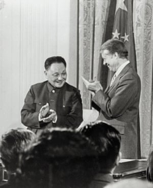 Chinese vice premier Deng Xiaoping meets with US president Jimmy Carter in the White House on 31 January, 1979, after the US and China established diplomatic relations.