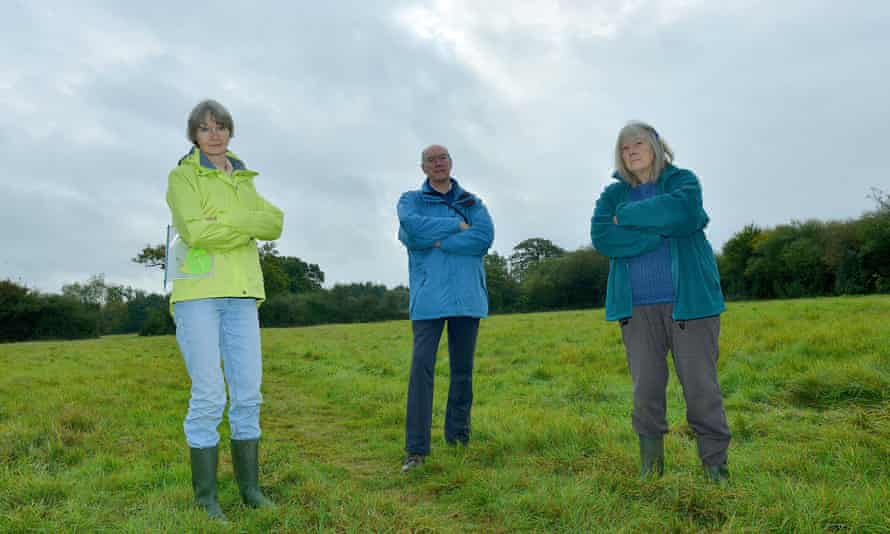Campaigners Pat Clissold, John Broad and Pam Roberts on Gavray Meadows. Photograph: Simon Williams for the Guardian
