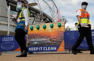 Hand sanitiser stations at London Stadium before the match between West Ham and Wolverhampton Wanderers.
