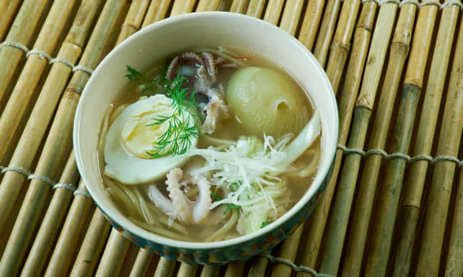Mohinga rice noodle and fish soup from Myanmar.