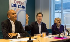 Chuka Umunna, Nick Clegg and Anna Soubry at the Open Britain press conference in London