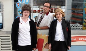Ami Metcalf as Kathy Burke, Aimee-Ffion Edwards as Mary and Tom Stuart as Icarus in a scene from Walking & Talking