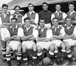 The 1955 Cardiff team photographed in happier times - only three weeks before their drubbing at the hands of Wolves.