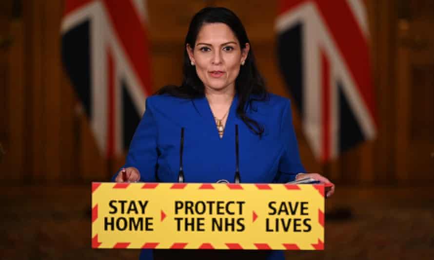 Priti Patel at the Downing Street coronavirus press conference. on Tuesday.