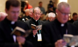 Attendees take part in morning prayer at the US Conference of Catholic Bishops general assembly in Baltimore, Maryland, on 12 November.
