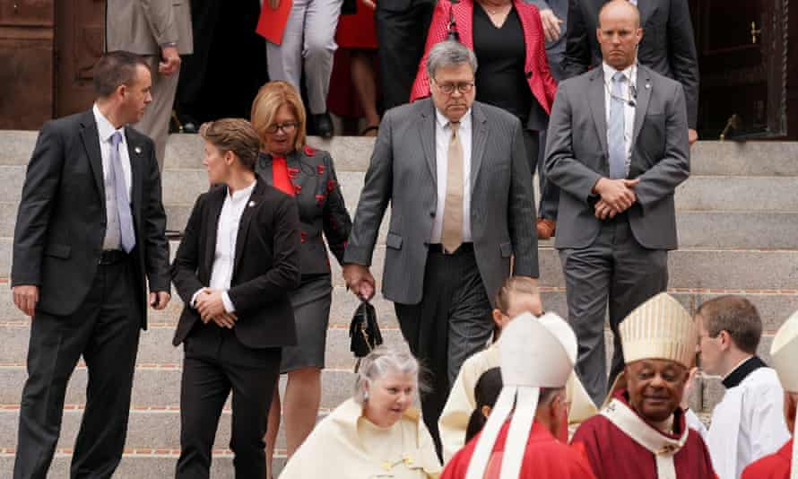 William Barr departs the annual Red Mass at the Cathedral of St Matthew the Apostle in Washington DC.