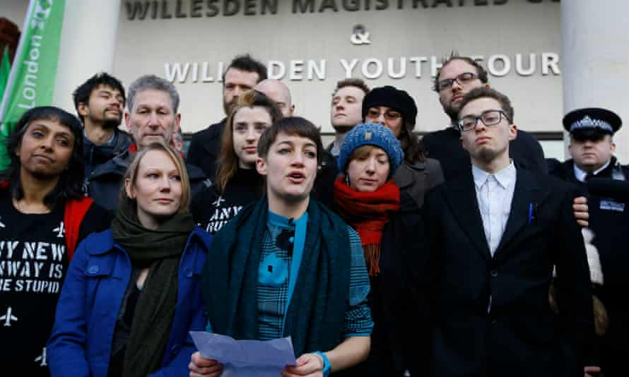 Activists led by Dannielle Paffard (centre) outside Willesden magistrates court earlier on Wednesday.