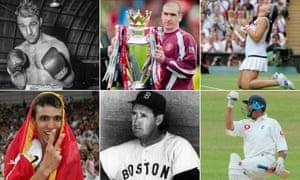 Rocky Marciano, Eric Cantona, Marion Bartoli, Nasser Hussain, Ted Williams and Hicham El Guerrouj.