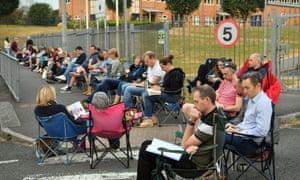 Parents queue outside Ysgol Y Berllan Deg primary school