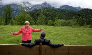 Obama with German chancellor Angela Merkel during the G7 summit in Krün, Germany, June 2015