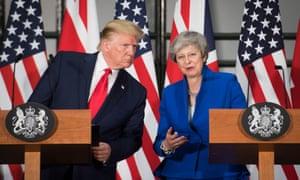 President Trump and Theresa May at their press conference.