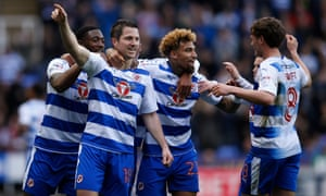 Yann Kermorgant, second left, has been an invaluable older head in a Reading team who go to Fulham on Saturday for the first leg of the Championship play-off.