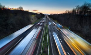 Cars on a motorway at dusk