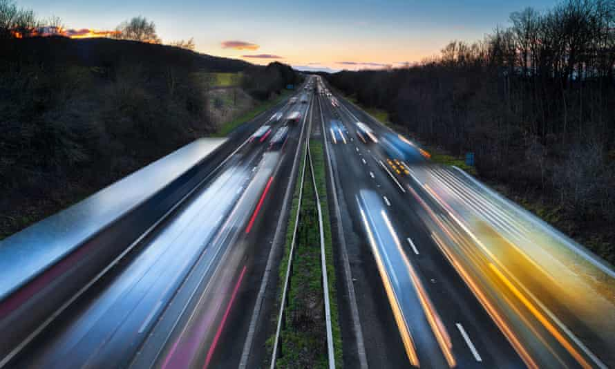Light trails of cars on busy motorway