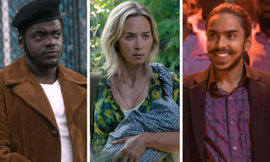 from left: Daniel Kaluuya in Judas and the Black Messiah, Emily Blunt in A Quiet Place Part II, Adarsh Gourav in The White Tiger.