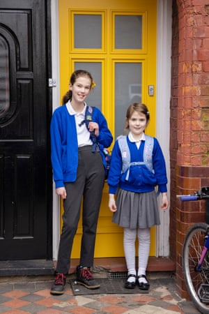 Aggie, left and Hilda Wiegand set off for Winns primary school in East London. Hilda is looking forward to seeing her teacher in real life and playing with her friends. Aggie is looking forward to finding out which high school everyone's going to.