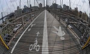 Bike lane on Brooklyn Bridge.