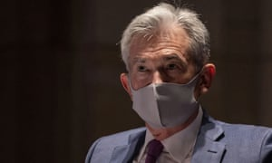 Federal Reserve chair Jerome Powell, wearing a face mask, testifies before the House of Representatives financial services committee in Washington in June.