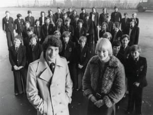 Jeremy Paxman reporting in Belfast with Gillian Chambers in 1976.