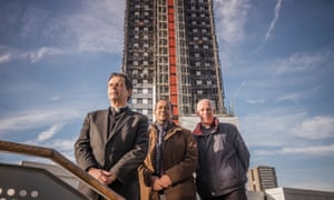 Left to right: Alan Everett, of St Clement's Church, Abdurahman Sayed, of the Al-Manaar mosque, and Mike Long of the Notting Hill Methodist church in front of Grenfell.