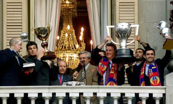 Joan Clos, then mayor of Barcelona, celebrates his city's many sporting triumphs in 1999.