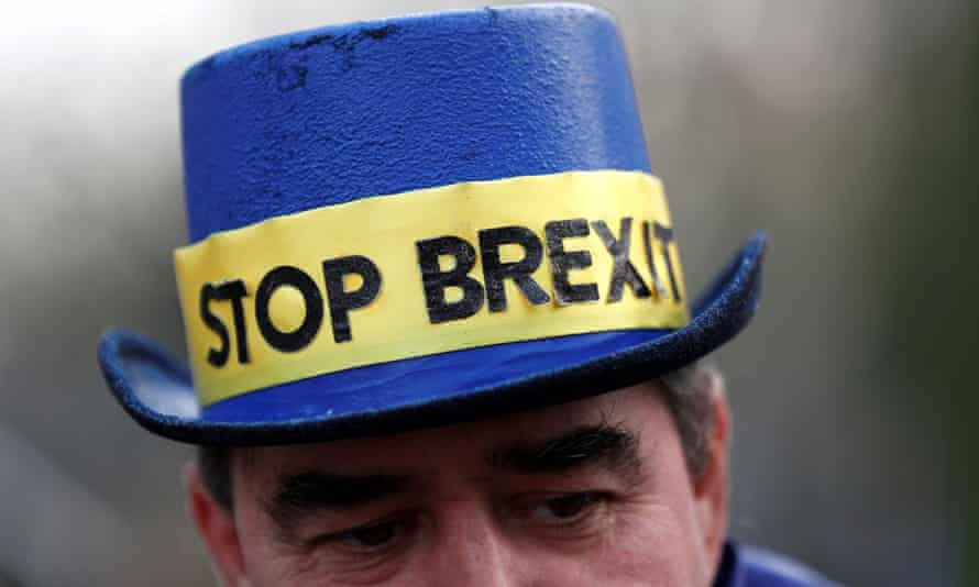 A man wearing a stop Brexit hat