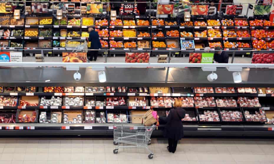 UK shoppers at a Sainsbury's supermarket