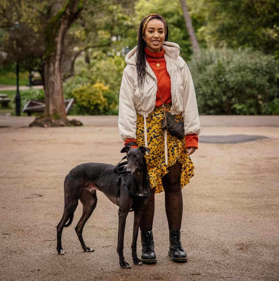 Georgina Lawton with her dog, a greyhound called Jasper
