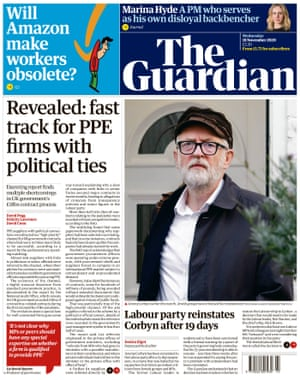 Guardian front page, Wednesday 18 November 2020
