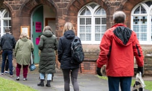 Voters queuing at the polling station at Saint Stephen's Comely Bank Church, in Edinburgh