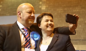 Scottish Tory Leader Ruth Davidson with candidate Mark Brown at the local elections at Meadowbank Stadium in Edinburgh.